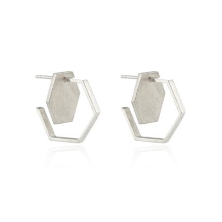Silver Double Hexagon Studs