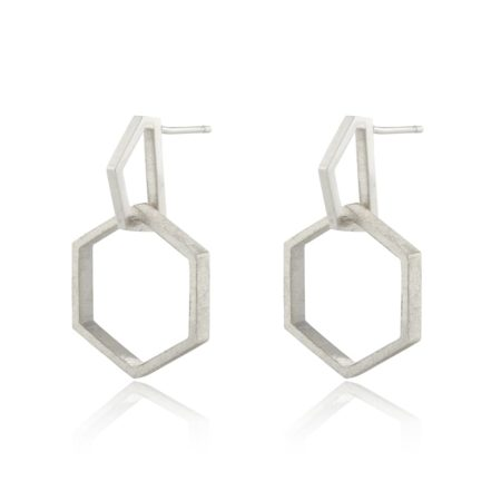 Silver Hexagon Modern Drop Earrings