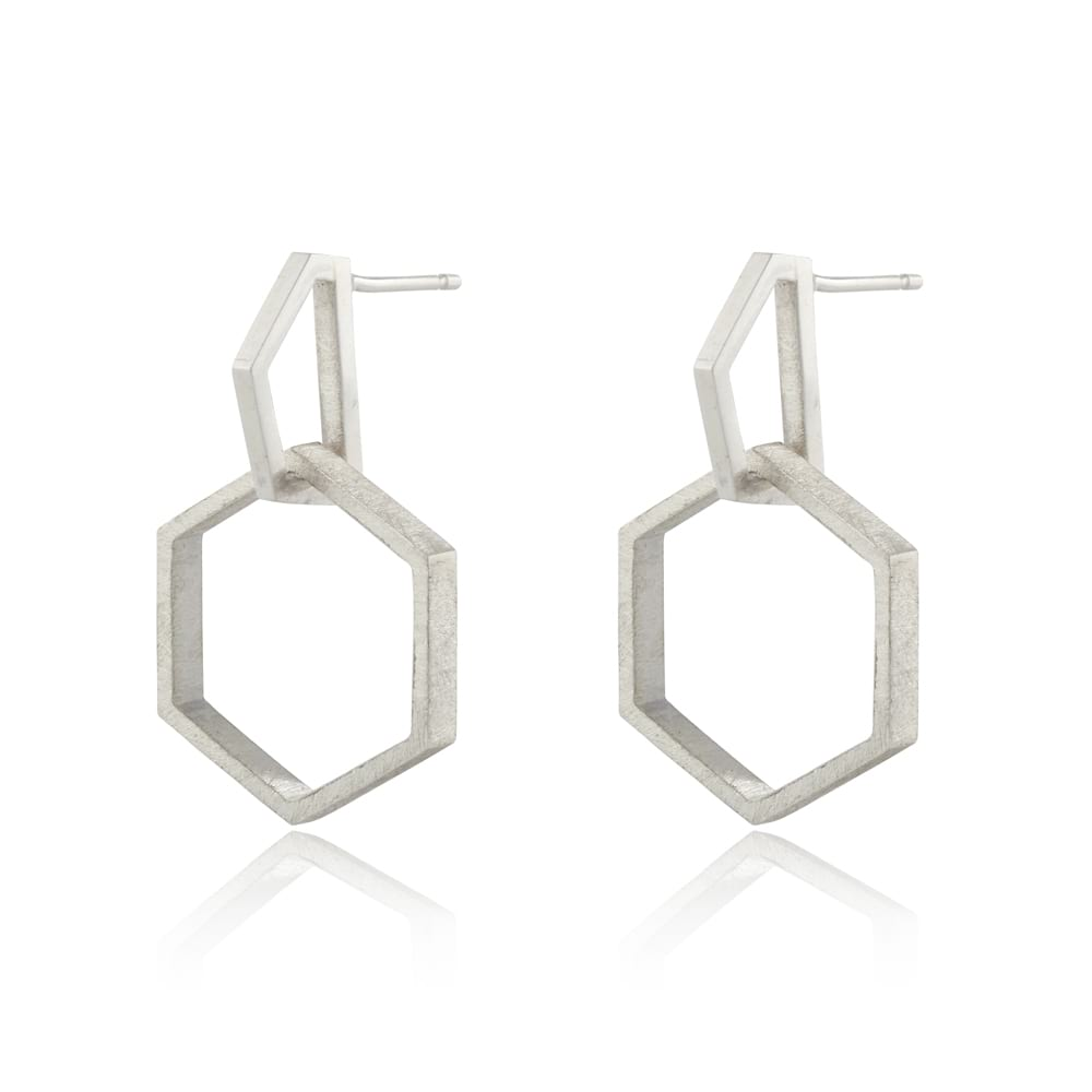 Silver Hexagon Modern Drop Earrings