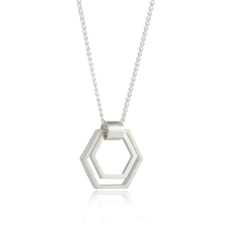 Small Silver Hexagon Pendant