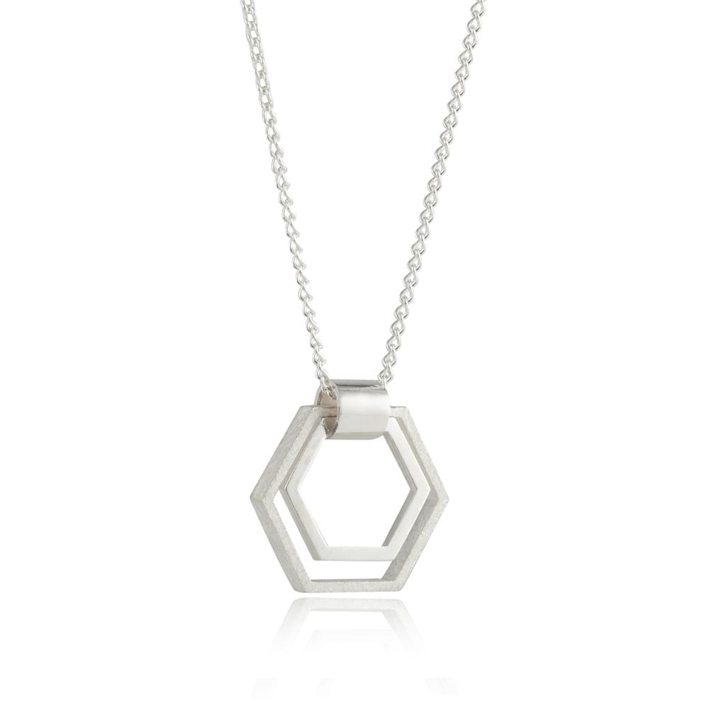 Small Silver Hexagon Pendant