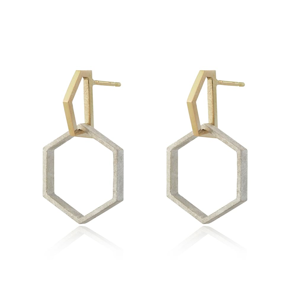 Two-tone gold and silver Hexagon Drop Earrings