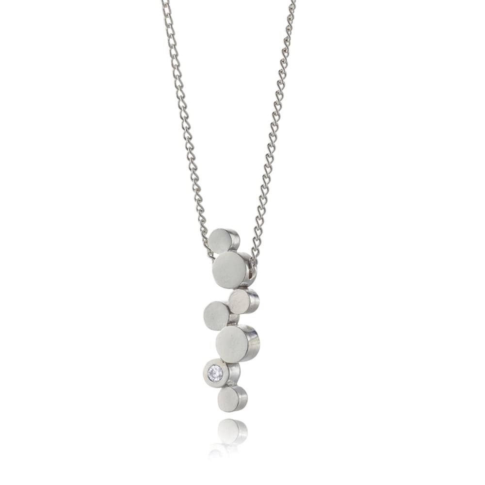 Stepping Stones silver and diamond pendant