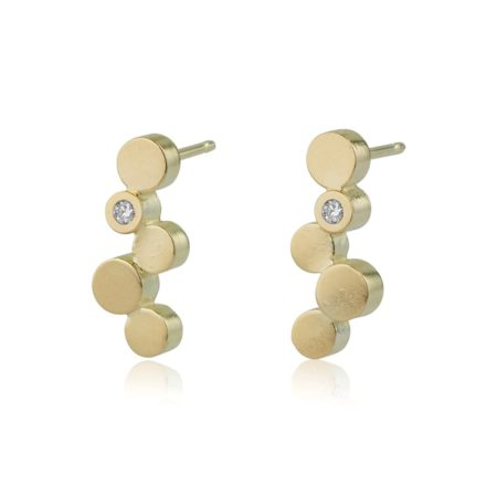 Stepping stones gold stud earrings