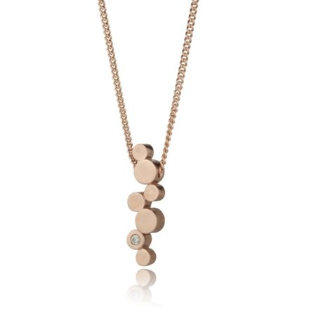 Stepping stones rose gold and diamond pendant