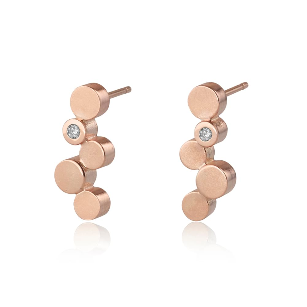 Stepping stones rose gold stud earrings