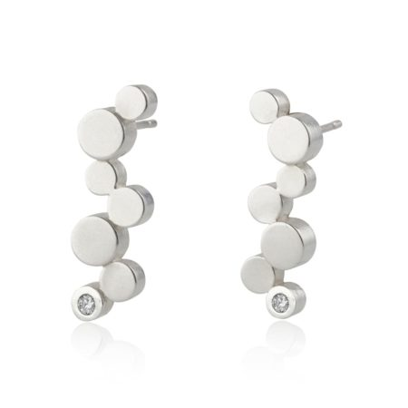 Stepping stones silver long stud earrings