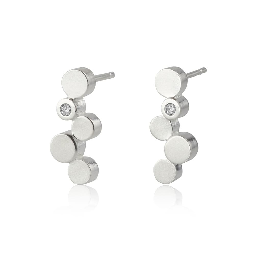 Stepping stones silver stud earrings