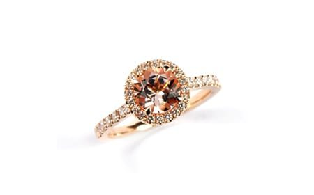 Pink morganite rose gold ring with diamond halo