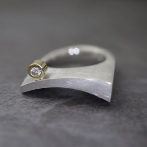 Forged Ring with Diamond
