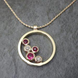 Multistone Diamond and Ruby Pendant