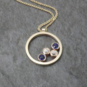 Multistone Sapphire and Diamond Pendant