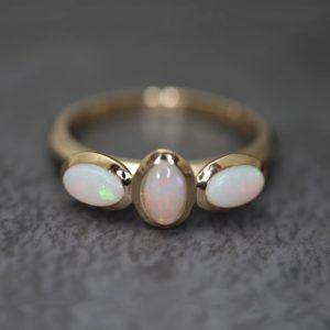 Opal Three Stone Rings