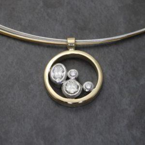 Oval and Round Stone Diamond Pendant