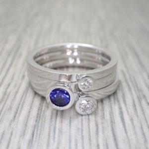Sapphire and Diamond Aurora Rings