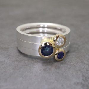 Sapphire and Diamond Kaleidoscope Ring Set