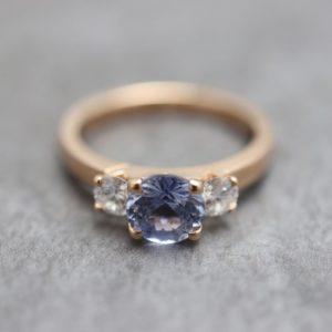 Three Stone Claw Set Engagement Ring