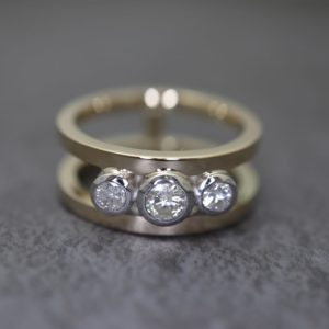 Three Stone Double Band Ring