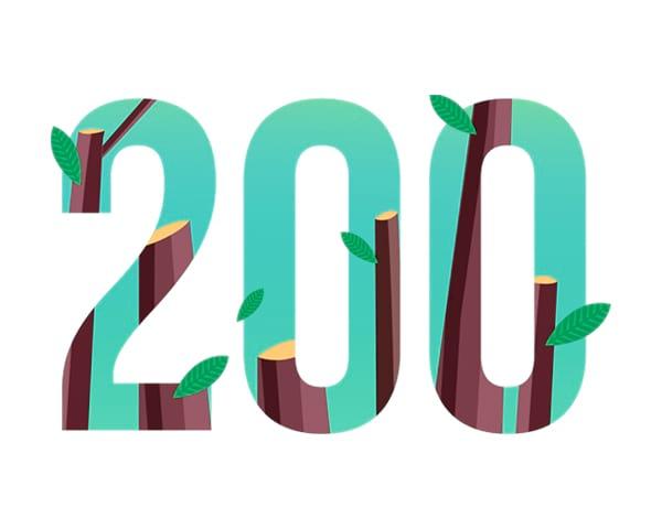 200 trees