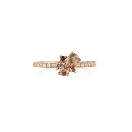 Chocolate Diamond Cluster Ring with Diamond Band