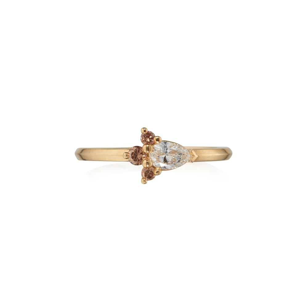 Chocolate and White Diamond Cluster Ring