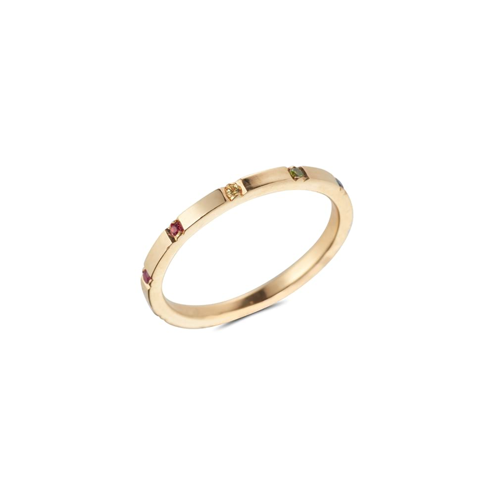 Coloured Sapphire Gold Band