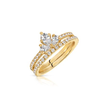 Diamond Trio Cluster Ring with Diamond Band