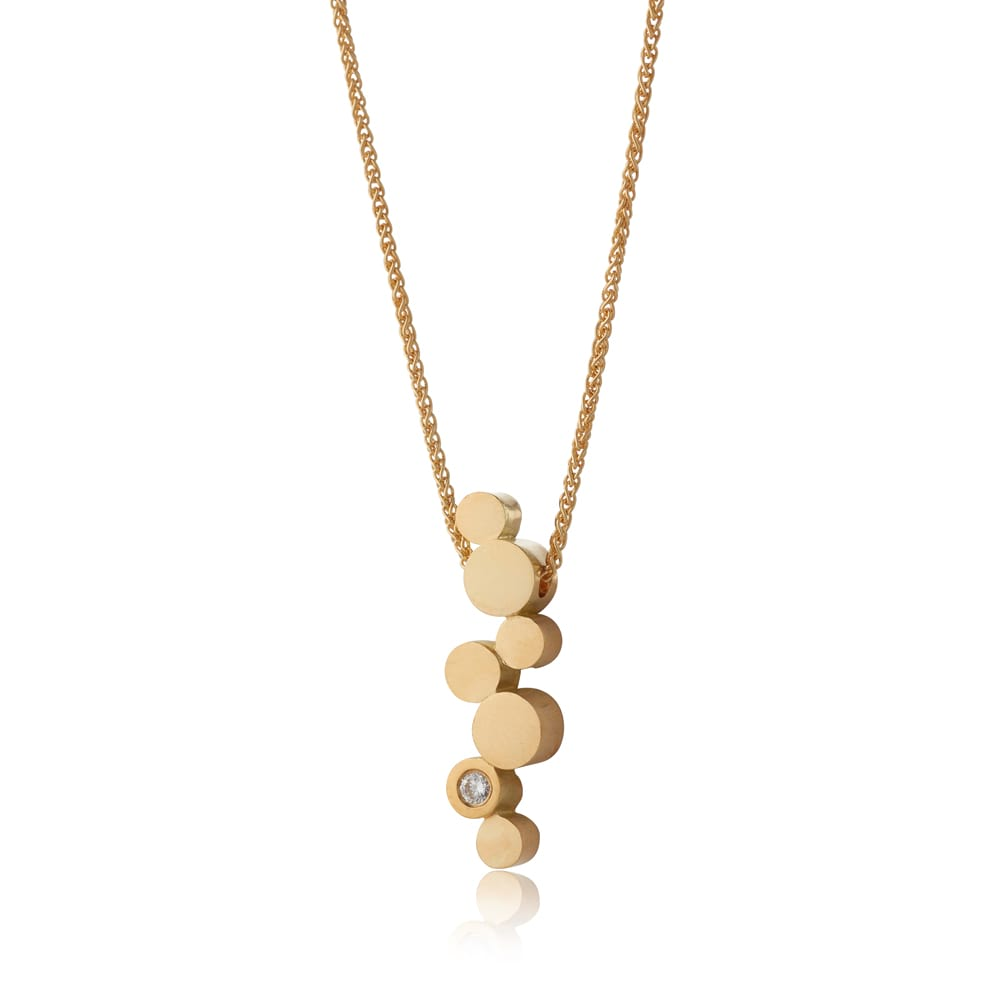 Gold Stepping Stones Long Pendant