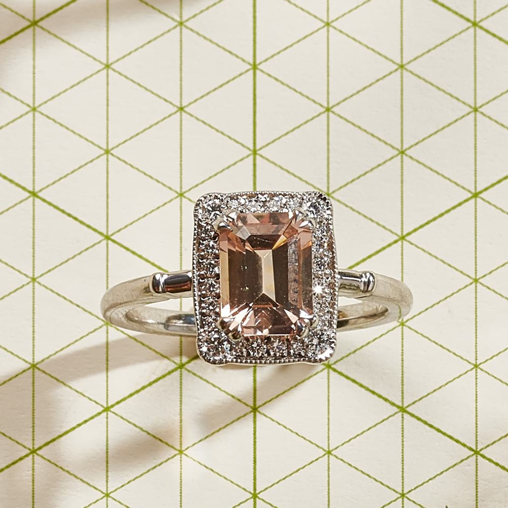 Morganite Art Deco Ring