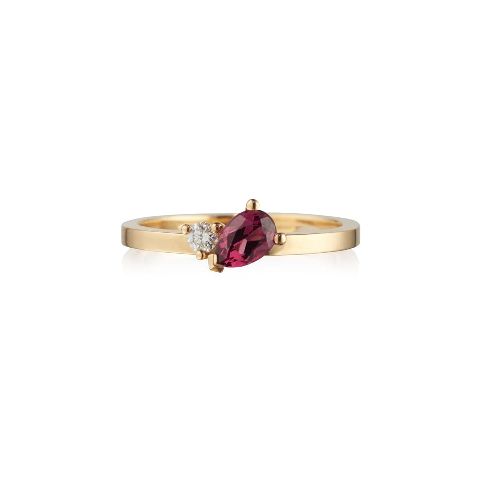 Rhodolite Garnet and Diamond Cluster Ring
