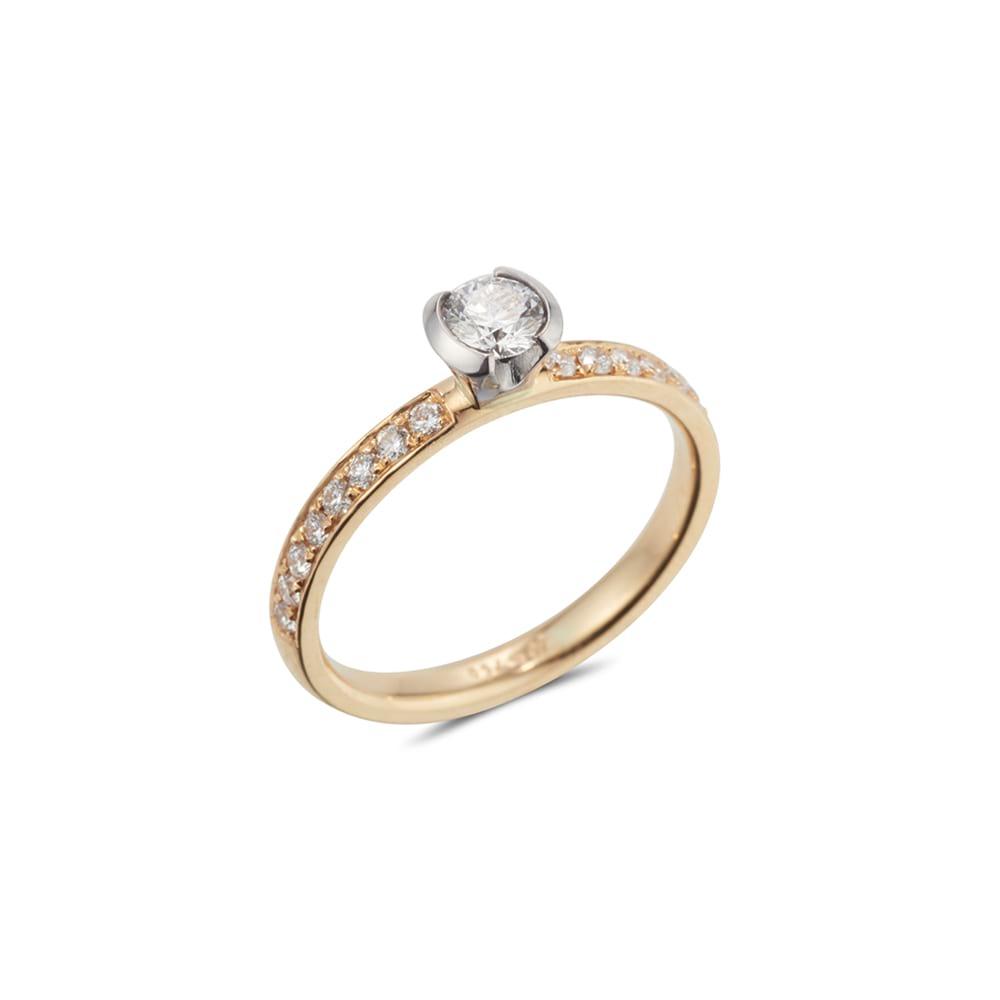 Semi Bezel Pave Ring