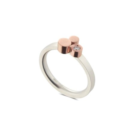 Silver and Rose Gold Stepping Stones Three Stone Ring
