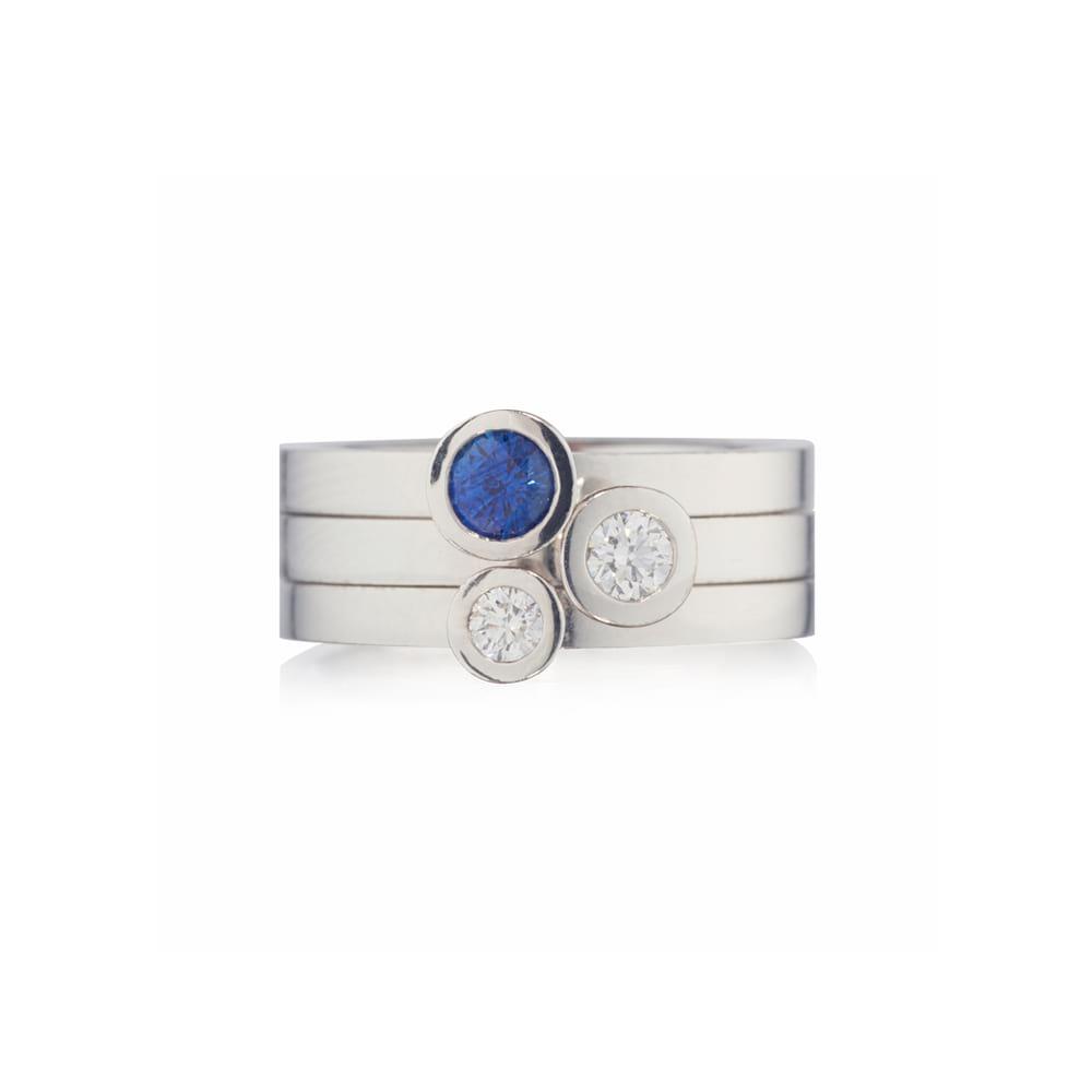 White Gold Aurora Set with Sapphire