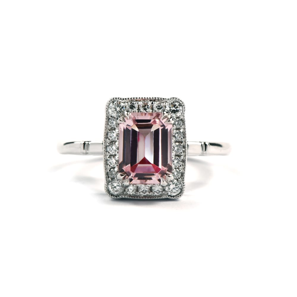 Emerald cut morganite set in 18ct white gold with diamond halo surround in Art Deco style