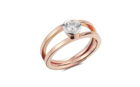 Diamond and rose gold duet ring
