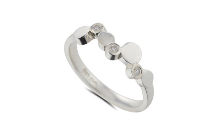 Silver and diamond stepping stones ring