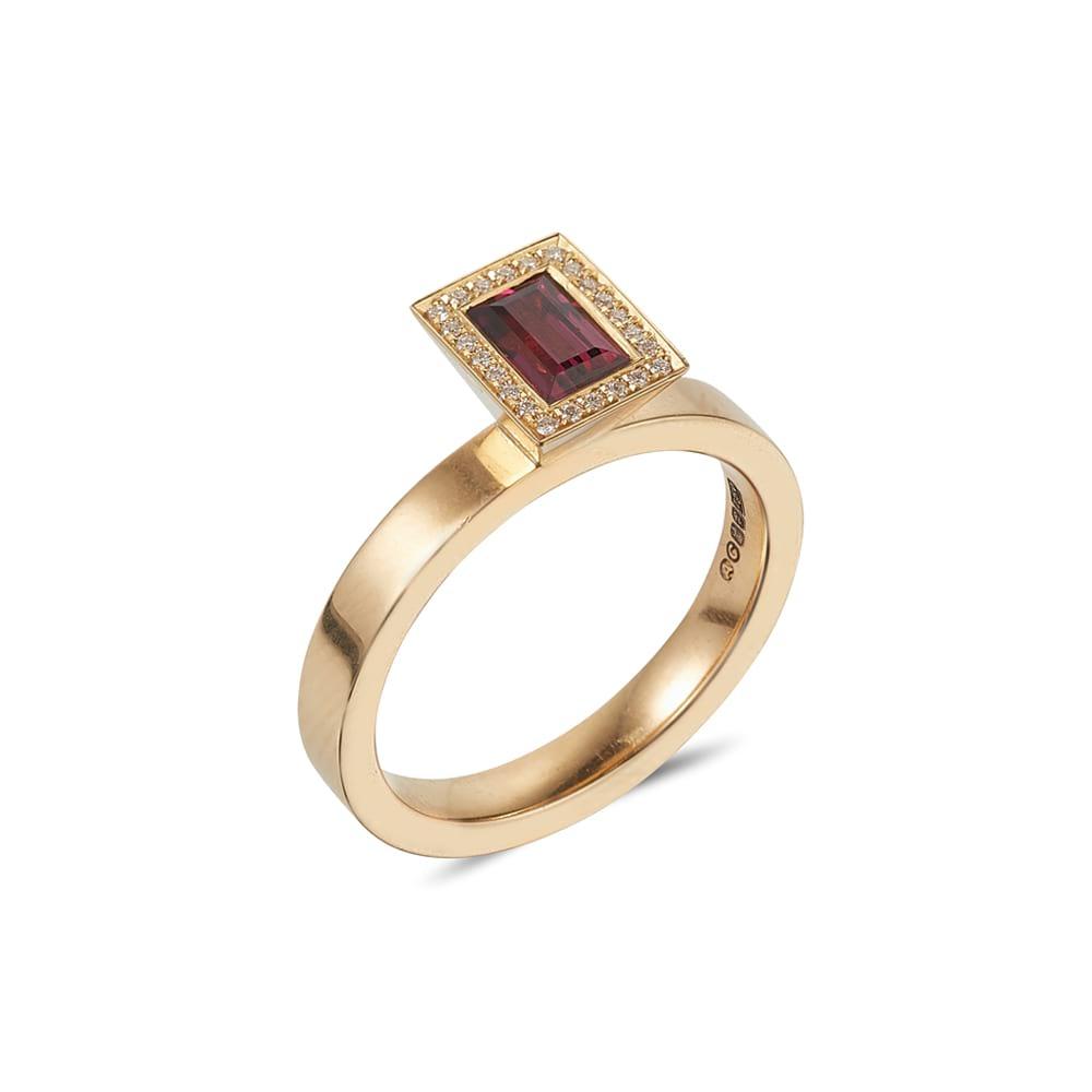 Baguette Cut Rhodolite Garnet Vibrance Ring