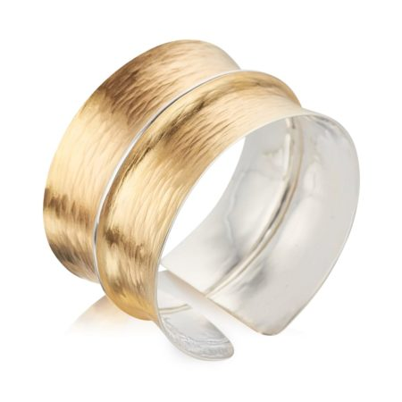 WIDE TEXTURED GOLD CUFF BRACELET WITH SILVER SECTION DOWN THE CENTRE