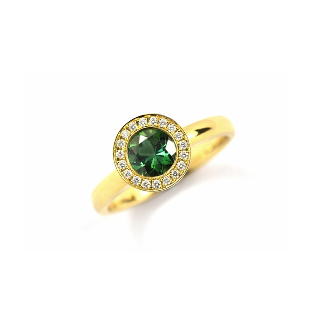 GOLD RING WITH ROUND GREEN TOURMALINE SET AS CENTRE STONE AND DIAMOND HALO SURROUND
