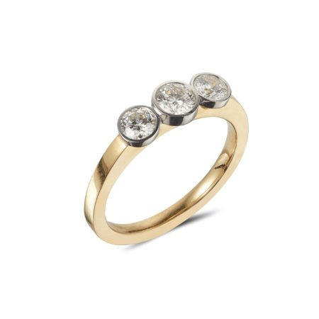 GOLD RING WITH THREE WHITE GOLD BEZEL SET DIAMONDS