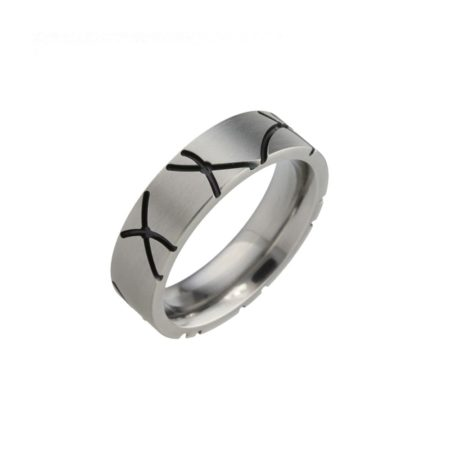 Titanium Ring with black Grooves
