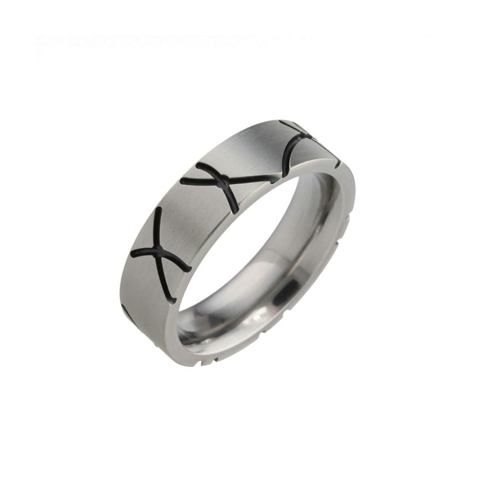 Titanium Ring with black Grooves