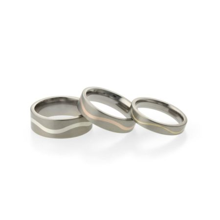 WAVE INLAY TITANIUM AND SILVER WEDDING RING