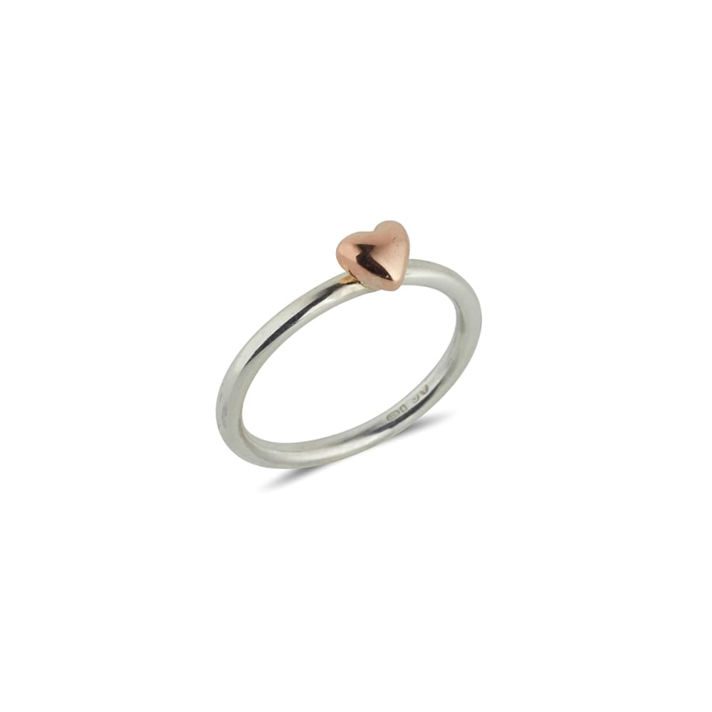 Tiny Hearts Silver and Rose Gold Ring