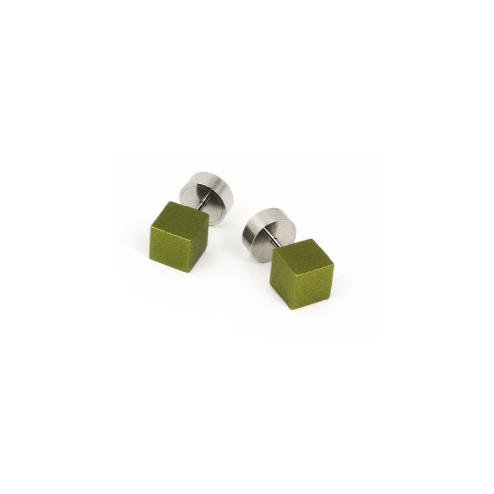 Cube Stud Earrings Olive