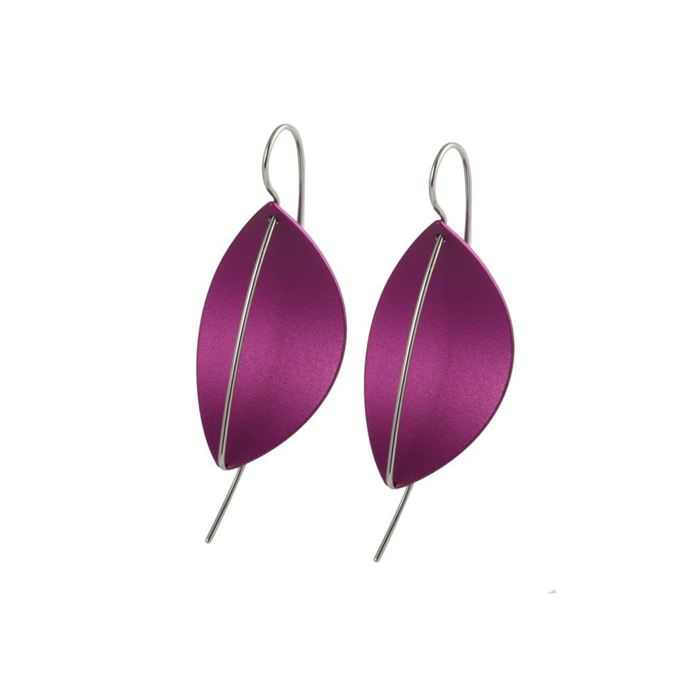 Leaf Drop Earrings Lilac