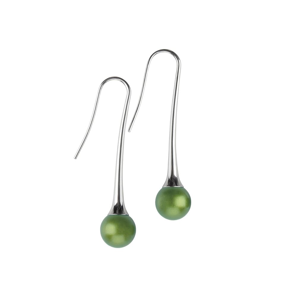 Long drop round earrings - olive