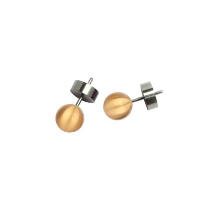 Round Stud Earrings Gold Plated