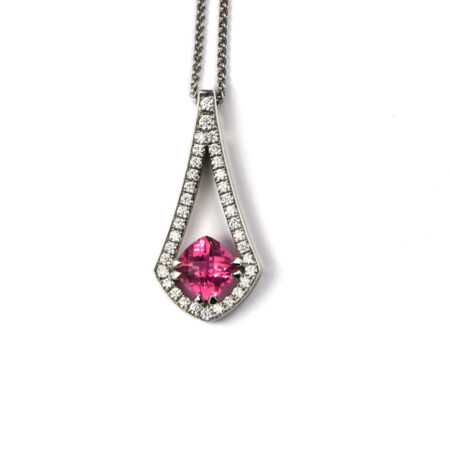 White gold and diamond pendant with pink centre stone