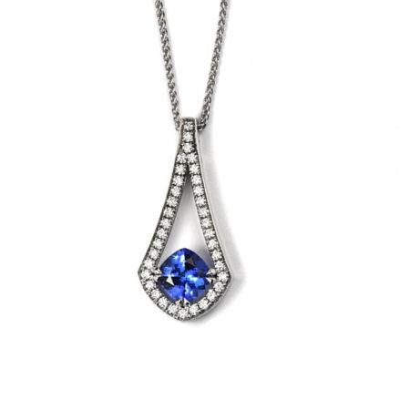 White Gold and Diamond Pendant with Blue Tanzanite centre stone